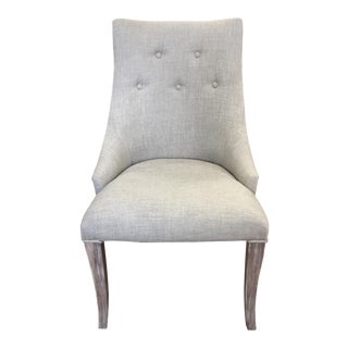 Tufted Rustic Beige Linen White Wash Dining Chair For Sale
