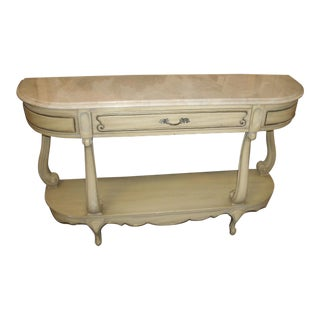 20th Century French Provincial Wieman Heirloom Marble Top Two Tier Console Table For Sale