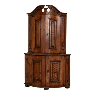 Antique Swedish Carved Pine Corner Cabinet For Sale