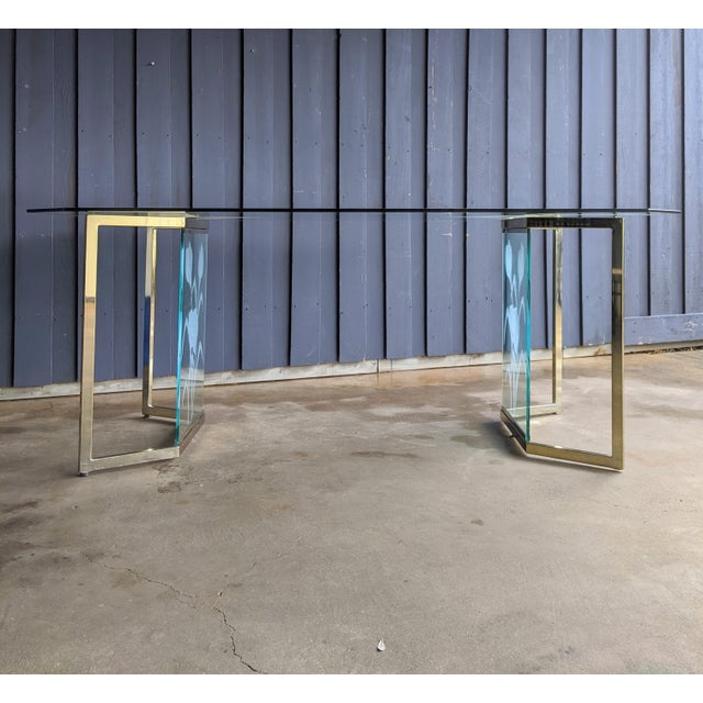Gold 1970s Boho Chic Glass Desk or Dining Table For Sale - Image 8 of 13