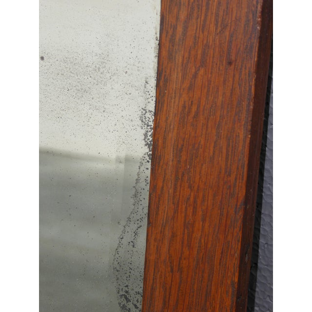 Antique Mid-Century Modern Federal Rustic Beveled Edge W Aged Silver Wall Mirror For Sale - Image 12 of 13