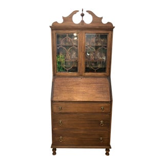Antique Walnut Secretary Desk With Hutch For Sale