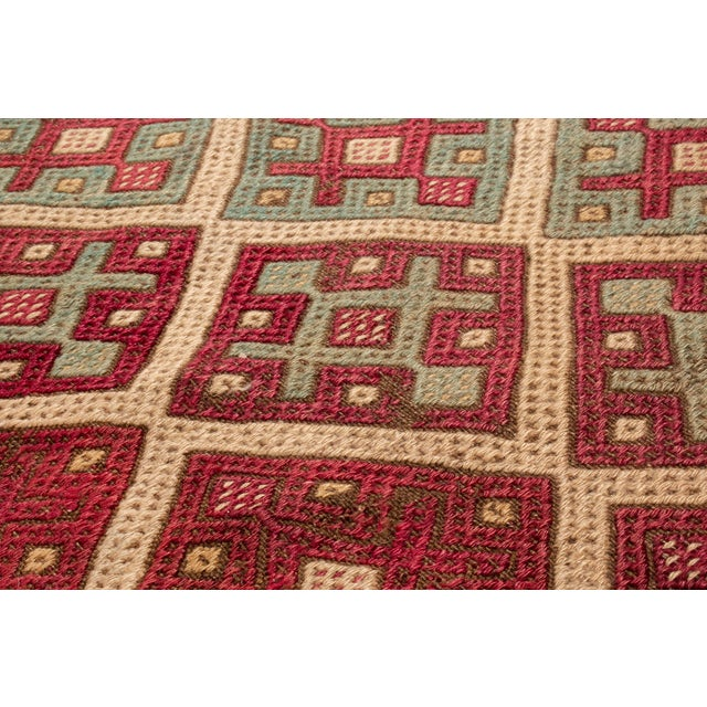 Contemporary Contemporary Geometric Wool Kilim Rug - 3′5″ × 10′5″ For Sale - Image 3 of 6