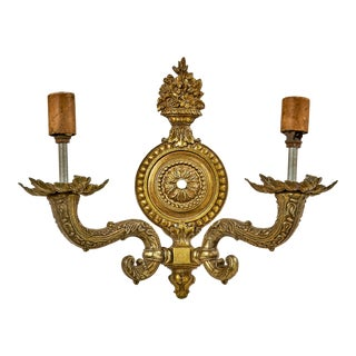 Antique Two Arm Cast Brass Wall Sconce For Sale