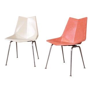 Paul McCobb Fiberglass Origami Chairs, Pair For Sale