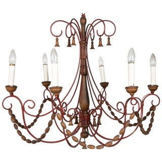 1960s Italian Wood Beaded Chandelier With Bells For Sale