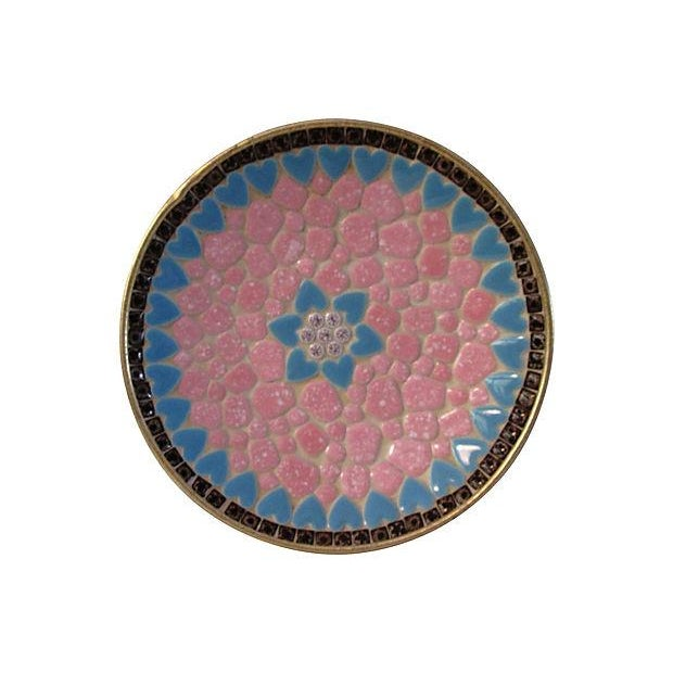 Pretty round midcentury mosaic tile shallow bowl featuring an ornate design of pink and white pebble tiles and powder-blue...