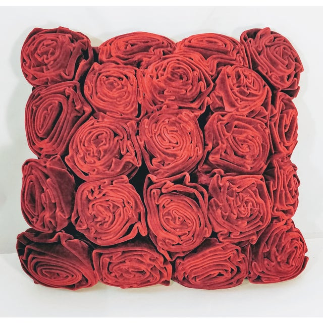 2000 - 2009 Velvet Roses Pillow Cranberry Red For Sale - Image 5 of 5