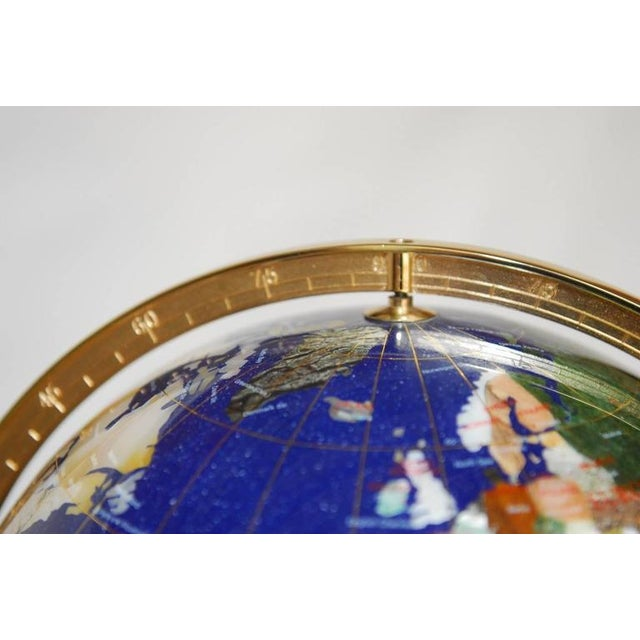 Maitland Smith Attributed Pietra Dura & Brass Globe For Sale In San Francisco - Image 6 of 10