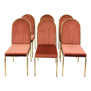 Vintage Brass Milo Baughman Style Chairs - Set of 6 For Sale