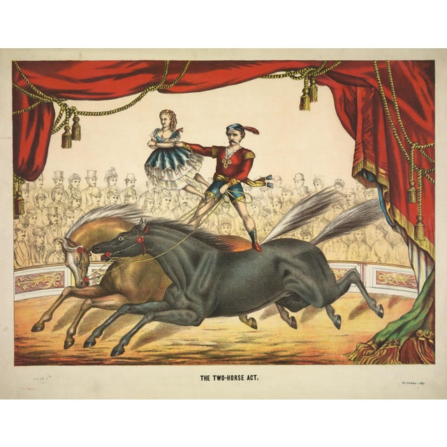 19th-C. Two Horse Act Circus Print For Sale