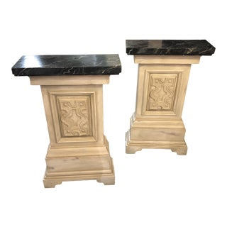Faux Marble Topped Pedestals - a Pair For Sale
