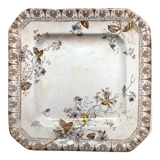 Early 20th Century Shabby Chic Alfred Meakin Rosaline Square Plate For Sale