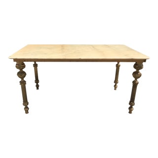 1940s French Maison Jansen Bronze & Onyx Top Coffee Table For Sale