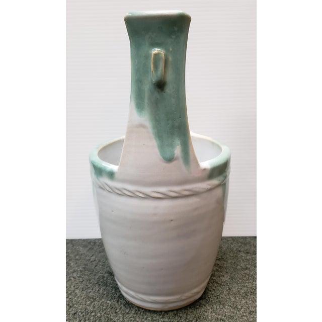 Mid 20th Century Japanese Glazed Stoneware Water Bucket Form Vase For Sale - Image 4 of 7