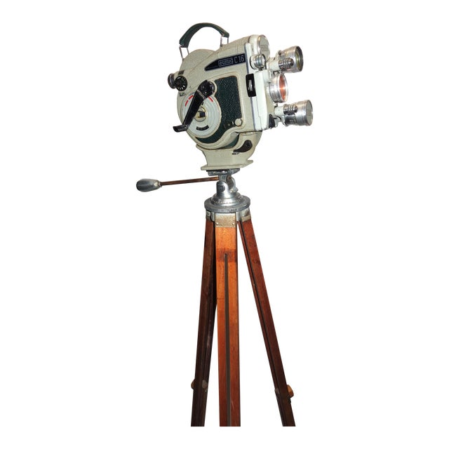 1956 Austrian Motion Picture Camera on Wood Tripod Vintage Perfect Display For Sale