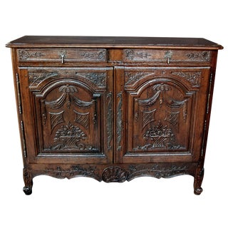 A Richly-Patinated and Well-Carved French Provincial Oak 2-Door Buffet For Sale