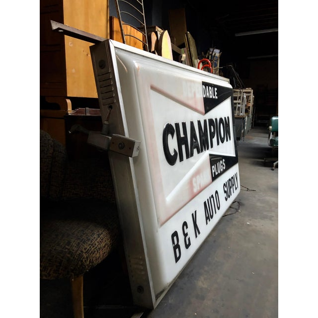 Metal Vintage Everbrite Industrial Metal-Framed Double-Sided Champion Auto Supply Service Sign For Sale - Image 7 of 10