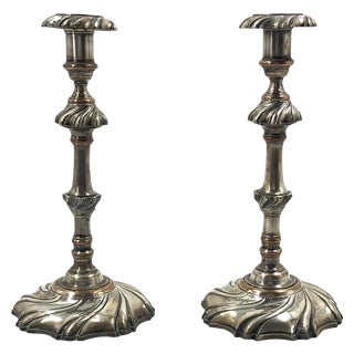Pair of Georgian Silvered Candlesticks For Sale