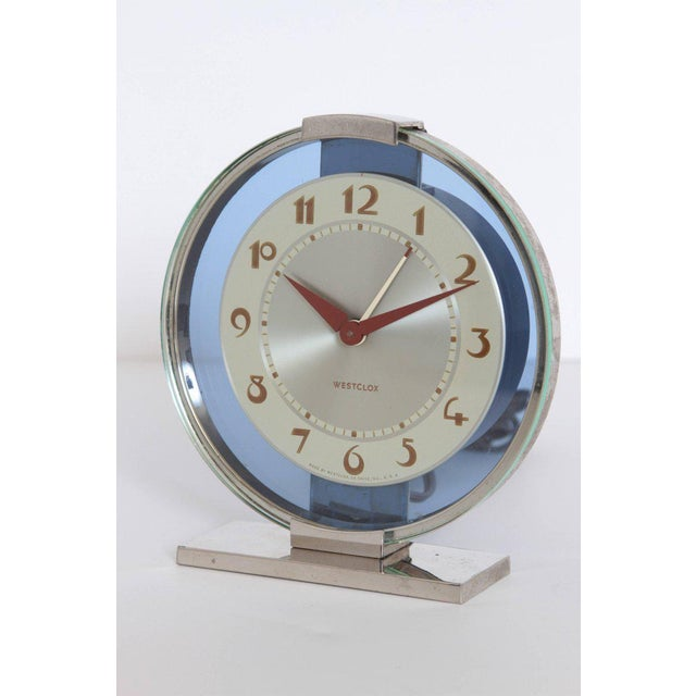 Machine Age Art Deco Westclox desk clock chrome with cobalt glass Original model. Polished chrome housing and base....