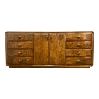 Stunning Burlwood and Brass Lowboy by American of Martinsville For Sale