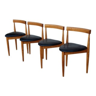 1960s Vintage Walnut Curved Dining Chairs - Set of 4