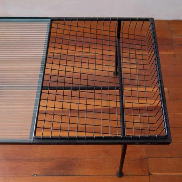 Mid Century Modern Iron Coffee Table With Magazine Holder For Sale - Image 10 of 13