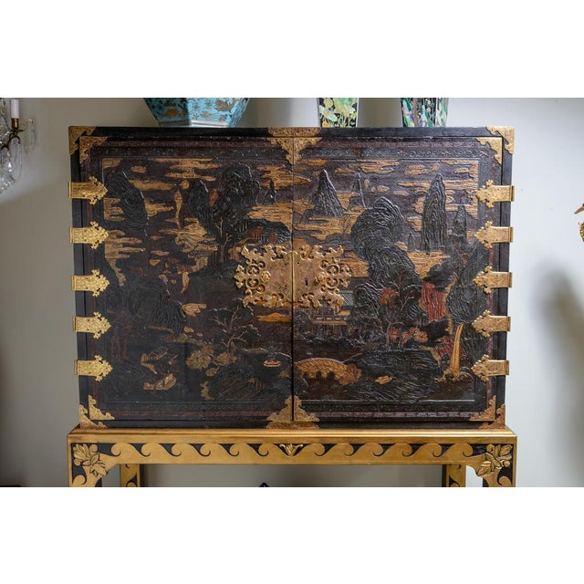 Asian Chinese lacquered cabinet on stand For Sale - Image 3 of 11