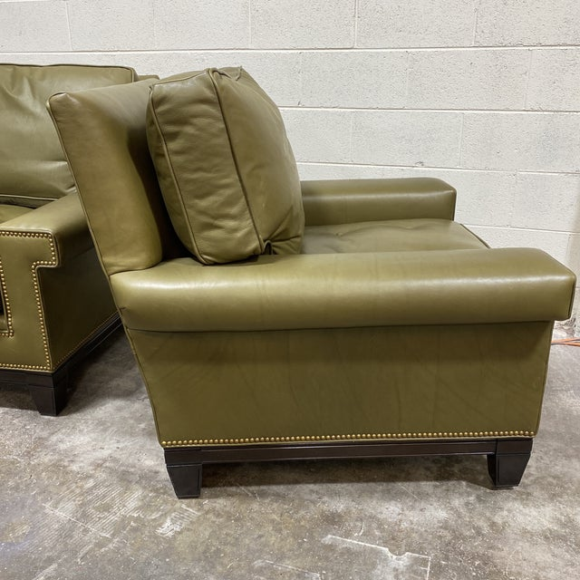 Swaim Olive Leather Club Chairs - a Pair For Sale - Image 11 of 13