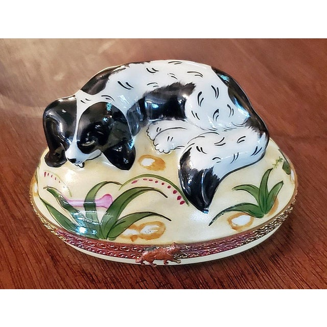 Black Vintage Limoges King Charles Spaniel Ring Box For Sale - Image 8 of 13