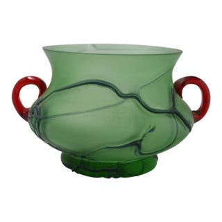 Pallme-Konig Loetz Green Swirl Body Red Applied Handles Vase