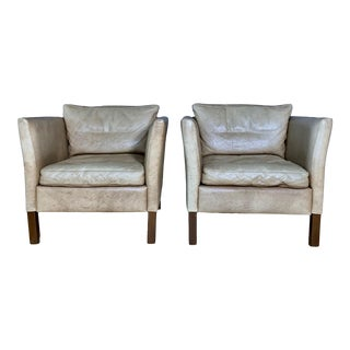 1970s Light Leather Square Club Chairs - a Pair For Sale