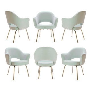Saarinen Executive Arm Chairs in Mint Velvet, 24k Gold Edition - Set of 6