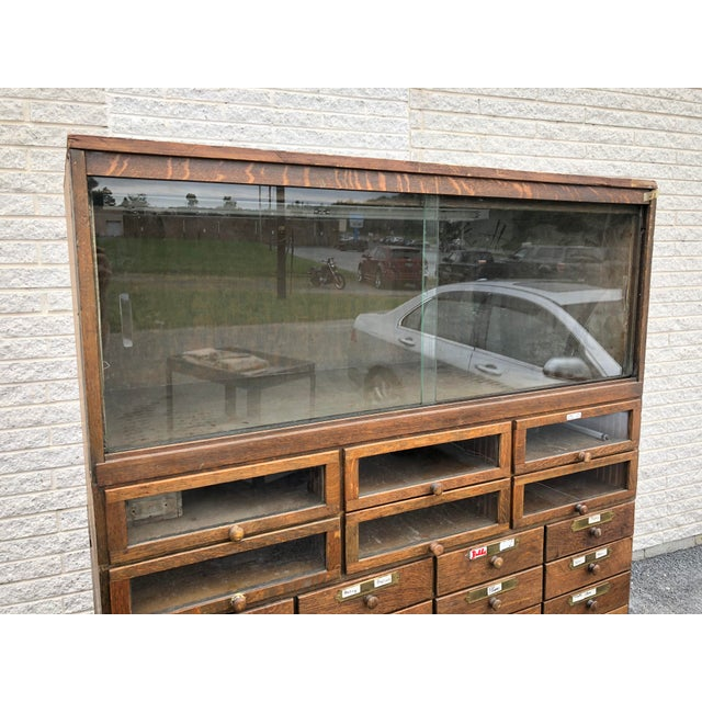 Arts & Crafts Large Vintage Industrial Wood Hardware Cabinet For Sale - Image 3 of 13