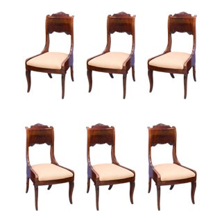 Set of Six Russian Neoclassic Mahogany Dining or Side Chairs For Sale