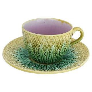 Antique English Majolica Pineapple Cup & Saucer For Sale