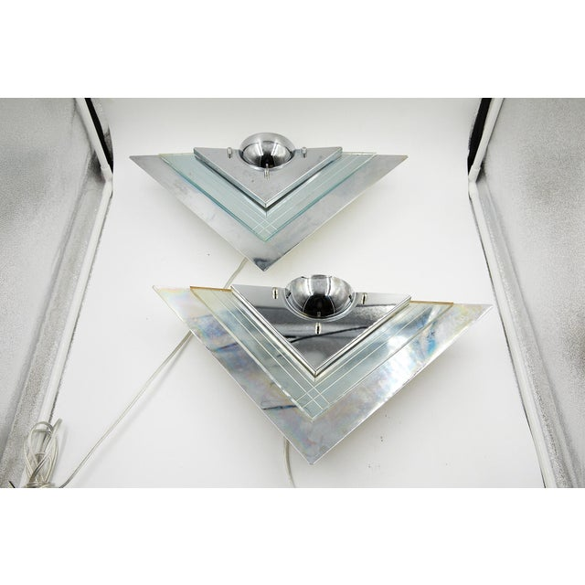 Pair of Art Deco Mirrored Wall Sconces For Sale - Image 10 of 11