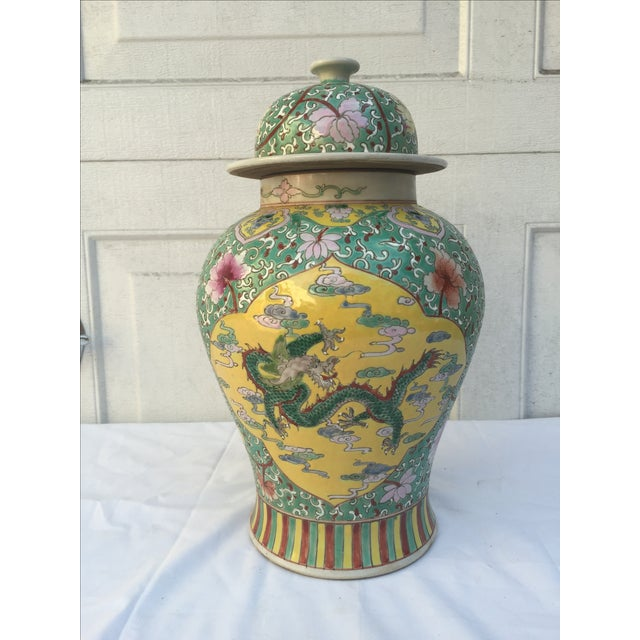 Chinese Chinoiserie Colorful Dragon Ginger Jar - Image 2 of 9