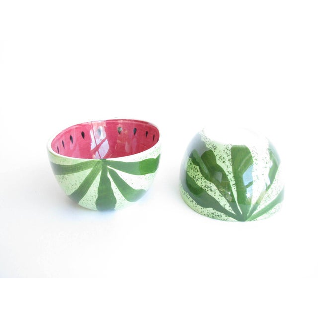 Vintage Ceramic Watermelon Shaped Serving Bowl Set - 3 Pieces For Sale In Chicago - Image 6 of 13