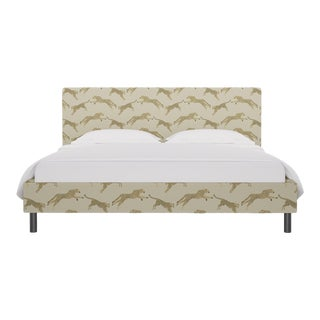 California King Tailored Platform Bed in Desert Cheetah By Scalamandre For Sale