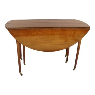 French Farmhouse Expanding Table Cherry Wood Dropleaf with Two Leaves For Sale
