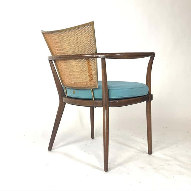 Mid 20th Century Pair of Sculptural Bert England Brass, Cane & Carved Walnut Arm or Dining Chairs For Sale - Image 5 of 13