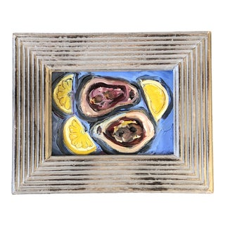 """Original Contemporary Alexandra Brown Modernist """"Oysters With Lemons"""" Painting Framed For Sale"""