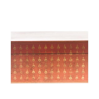Lawrence & Scott Mandarin Red Bells Leather Box For Sale