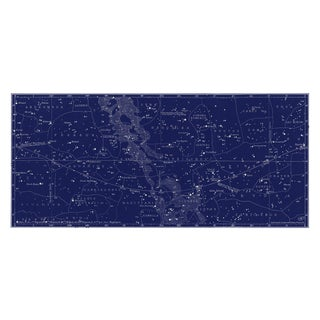 Large Star Constellation Map in Navy Blue For Sale