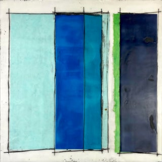 """""""Blue Spaces"""" Contemporary Encaustic Collage Painting by Gina Cochran For Sale"""