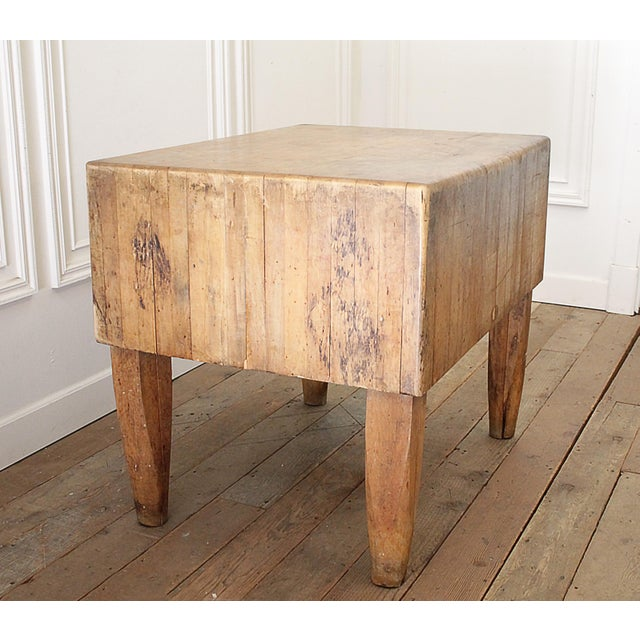 French 20th Century French European Butcher Block Table For Sale - Image 3 of 10
