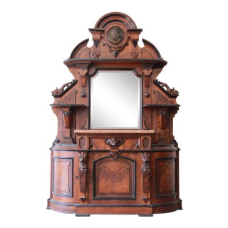 Monumental 19th Century Victorian Ornate Carved Burled Walnut Sideboard