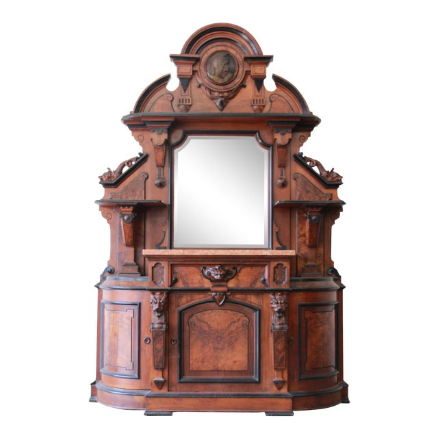 Monumental 19th Century Victorian Ornate Carved Burled Walnut Sideboard For Sale