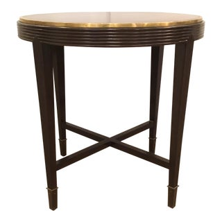 Sherrill Co. Transitional Dark Wood and Brass Round Side Table For Sale